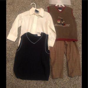 Boys lot 3T dressy bundle. Vests pants button down